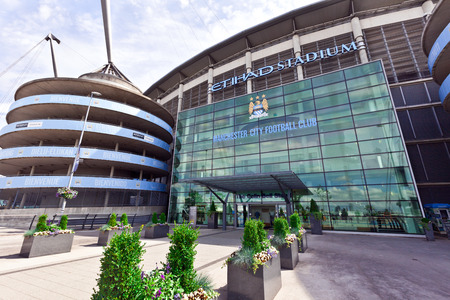 memorabilia:  Etihad stadium is home to Manchester City English Premier League football club, one of the most successful clubs in England  Editorial