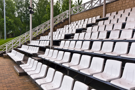 showground: Vacant rows of showground plastic seating  Stock Photo