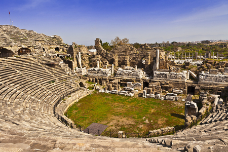 2nd Century AD Roman theater in Side, Turkey. Stock Photo