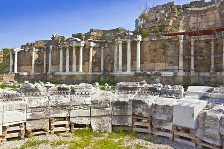 past civilization: Roman ruins at the ancent town of Side in Turkey. Stock Photo