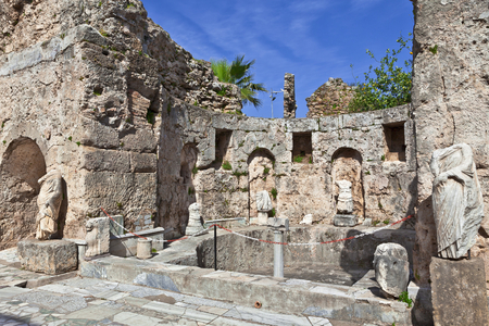 past civilizations: Roman ruins at the ancent town of Side in Turkey. Stock Photo