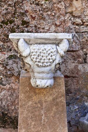 escultura romana: Cabeza del Toro - detalle de una escultura romana antigua.