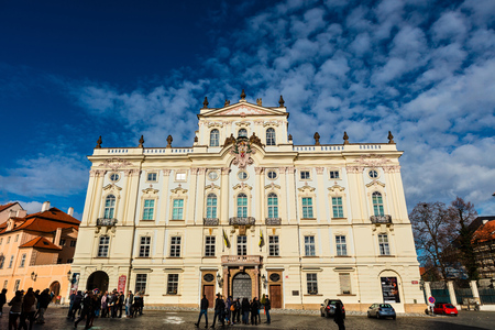 PRAGUE, CZECH REPUBLIC - NOVEMBER 14, 2015:The rococo Archbishops Palace, inside Prague Castle the royal Hradcany complex was rebuilt several times but morphed into rococo between 1669-1694. Editorial