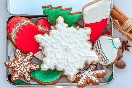 piped: Assortment of spicy decorated Christmas cookies.