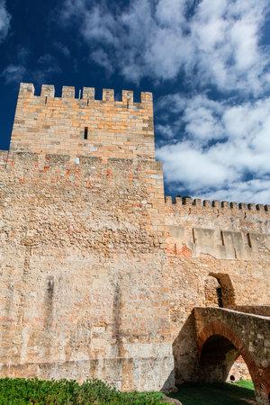 jorge: External wall and tower of the Lisbon Castle Castelo de Sao Jorge.
