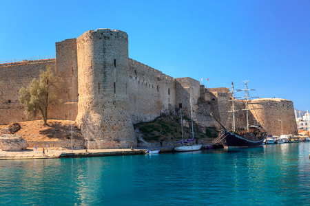 Historic harbour and the old town in Kyrenia (Girne) on the Island of Cyprus. Archivio Fotografico