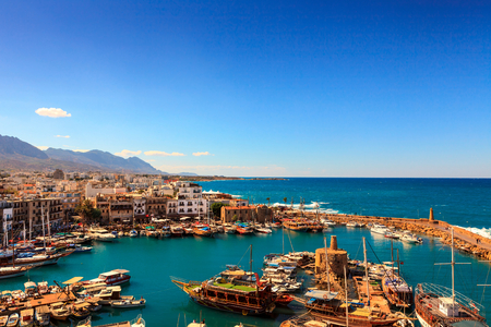 Historic harbour and the old town in Kyrenia (Girne) on the Island of Cyprus. Stock Photo