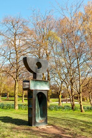 The Ultimate Form is part of 9 individual bronze sculptures, one of Barbara Hepworthss final works The Family of Man, completed in 1970 exhibited in YSP.