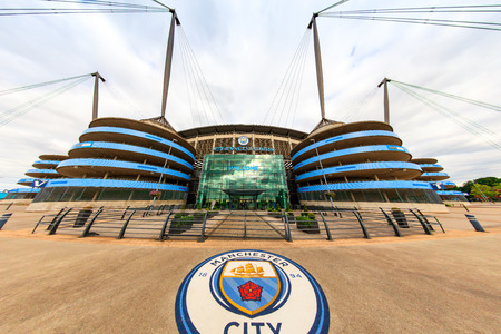 premier: MANCHESTER, UK - AUGUST 14, 2016: Etihad stadium is home to Manchester City English Premier League football club, one of the most successful clubs in England; fish eye perspective. Editorial