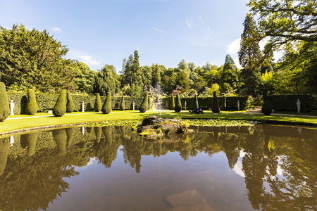 stately home: CHATSWORTH, UK - SEPTEMBER 1, 2016:The Ring Pond below the rockery in the grounds of the Chatsworth House (in the Peak District, England), an historic English Stately Home in the Derbyshire Dales.