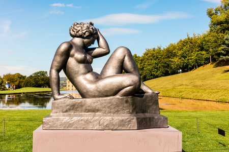 masonary: CHATSWORTH, UK - SEPTEMBER 1, 2016: Aristide Maillol La Montagne sculpture at the grounds of Chatsworth House, an historic English Stately Home, part of Beyond Limits art exhibition. Editorial
