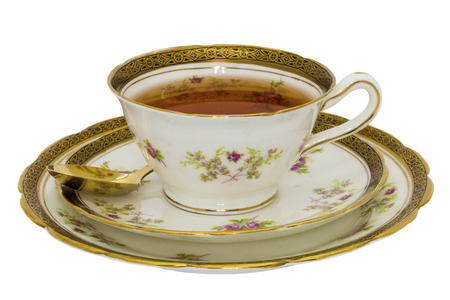 fine china: Tea in an antique fine china cup.