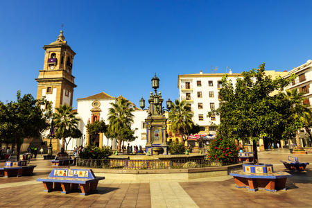 Historic Plaza Alta (High Square) in the old town of Algeciras, Spain. It is one of the major centres of activity in the city. Editorial