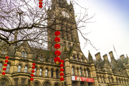 Manchester england january 17: red lanterns decorations in