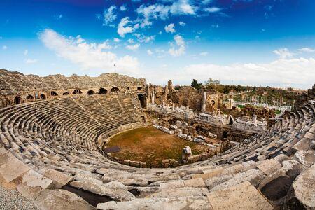 2nd Century AD Roman theater in Side, Turkey. Stock Photo