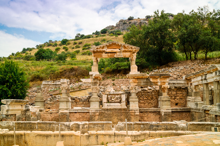 Fountain of Trajan at the historic archaeological site of Ephesus in Turkey.