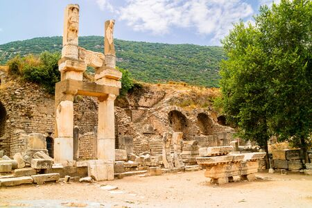 corinthian column: Temple of Domitian at the archaeological site of Ephesus in Turkey.