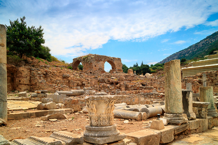 Ruins of brothel, view from Kuretes Street at the ancient Archaelogical site of Ephesus in Turkey. Stock Photo