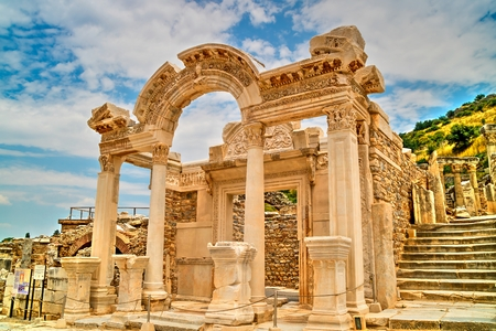 Temple of Hadrian at the Ephesus archaeological site in Turkey.