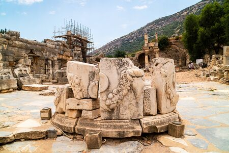 Circular structure of the remains of Roman Altar at the Domitian Square in the ancient city of Ephesus, Turkey.