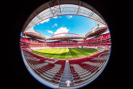 LISBON, PORTUGAL - FEBRUARY 10, 2018: Sport Lisboa e Benfica, a Premier League Portuguese sports club based in Estdio da Luz in Lisbon, Portugal.  Fish eye perspective.