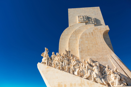 Detail of the left side of famous Monument of the Discoveries in Belem area of Lisbon, Portugal.