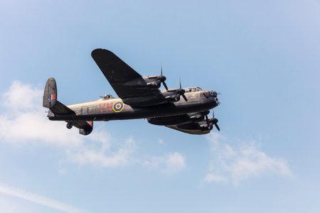 SADDLEWORTH, UK - August 11, 2018: Lancaster Bomber memorial flight at WW2 day.