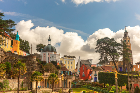 Popular tourist resort of Portmeirion with its Italian village style architecture in Gwynedd, North Wales.