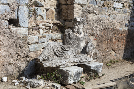 Sculpture  of the river god Maindros at the ruins of Faustina Baths in Miletus in the Aydin Province, Turkey.