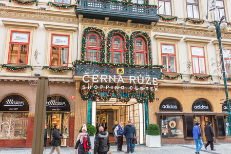 PRAGUE, CZECH REPUBLIC - December 12, 2018:  Cerna Ruze Shopping Centre one of Prague's most beautiful shopping arcades in the city centre on the Na Prikope Street. Éditoriale