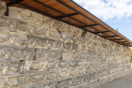 Stone carved panels at the Archaeological site of Helenistic city of Aphrodisias in  western Anatolia, Turkey. Stock Photo