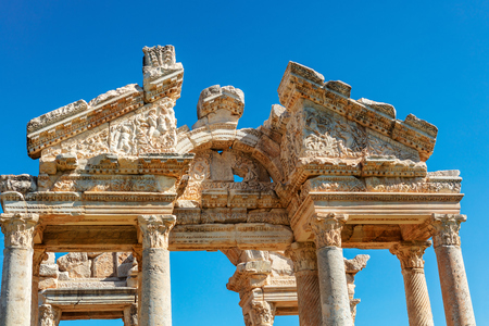 The Tetrapylon monumental gate at an archaeological site of of Aphrodisias in western Anatolia, Turkey.