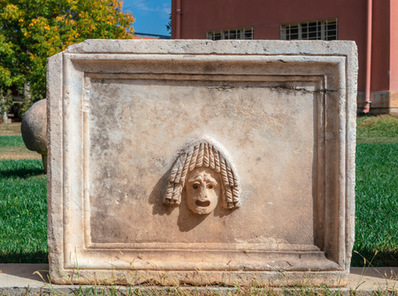 Decorative panel recovered from the ruins at the archaeological site of an ancient Greek city of Aphrodisias in Aydin Province of Turkey.