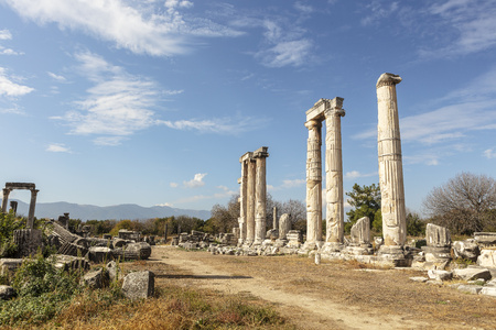The archaeological site of an ancient Greek city of Aphrodisias in Aydin Province of Turkey. Stock Photo