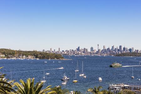 Spectacular Watson's Bay with view of Sydney skyline, Australia. Stock Photo