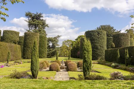 Formal garden with small statue and topiary shrubs.
