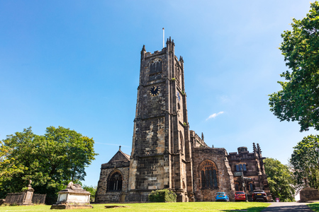 LANCASTER, UK - July 3, 2019: Lancaster Priory is the Church of England parish church of the city centre of Lancaster, Lancashire, England.
