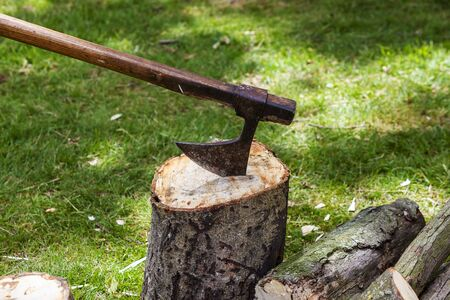 Wood chopping medieval axe thrust into a tree stump.