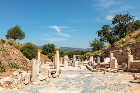 Ancient Roman Archaeological site of Ephesus, Anatolia, a popular tourist attraction.