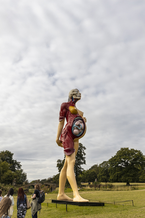 WAKEFIELD, YORKSHIRE, UK - September 18, 2019: Scenic surroundings at the Yorkshire Sculpture Park ideal for displaying major works of Damien Hirst.