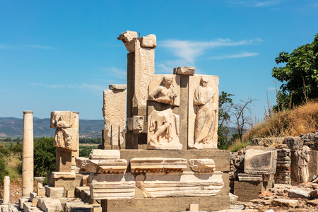 Monument to Memmio at the historic archaeological site of Ephesus in Turkey.