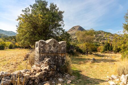 Scenic landscape with ancient ruins of Lycian city of Sidyma known now as Dudurga in Mugla province, Turkey.