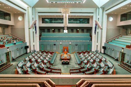 CANBERRA, AUSTRALIA - March 28, 2019: Interior view of the House of Representatives in Parliament House, Canberra, Australia. Foto de archivo