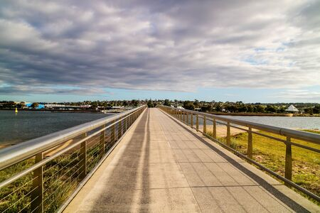 The 190 metre long Cunninghame Arm Footbridge at the Lakes Entrance in Victoria, Australia.