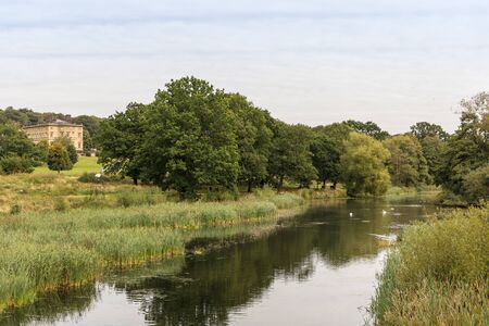 English rural landscape with River Dearne, in the Yorkshire Sculpture Park, near Wakefield in South Yorkshire.