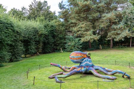 WAKEFIELD, YORKSHIRE, UK - October 19, 2019: Marialuisa Tadeis colourful sculpture Octopus displayed in scenic surrounds of the Yorkshire Sculpture Park. Editorial