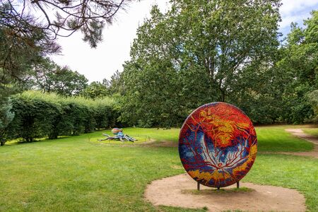 WAKEFIELD, YORKSHIRE, UK - October 19, 2019: Marialuisa Tadeis colourful sculptures, Night and Day and Octopus in Yorkshire Sculpture Park. Editorial