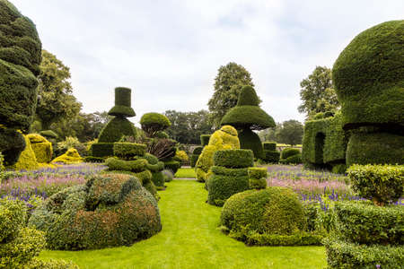 Oldest topiary park in the world with fantastically shaped plants at the Levens Hall in Cumbria, UK.