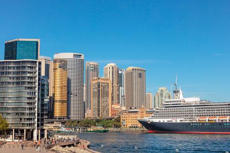 SYDNEY, AUSTRALIA - April 1, 2019: Large cruise liner docked at Sydney Harbour.
