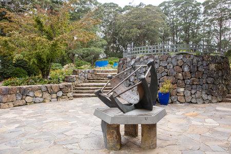 SYDNEY BLUE MOUNTAINS, AUSTRALIA - April 4, 2019: Large Equatorial Sundial at the Blue Mountains Botanic Gardens Visitors Centre, NSW, Australia.